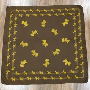 """2/$20  Scotty dog brown gold scarf square 34""""x 34"""""""